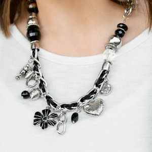 Silver and black charm necklace with earrings